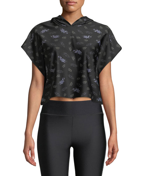 ULTRACOR Sparrow Lavender-Print Cropped Hooded Activewear Tee in Black Pattern