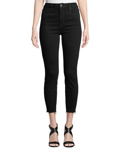 Bombshell High-Rise Skinny Cropped Jeans w/ Raw Hem