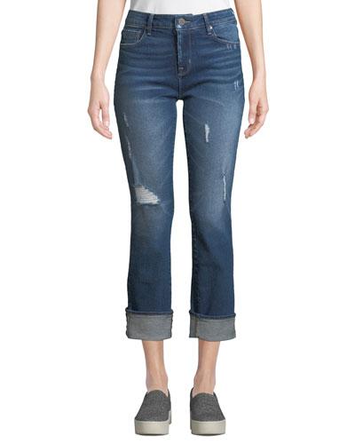 Runaround Sue Distressed Straight-Leg Jeans