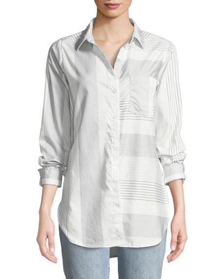 Ashton Long-Sleeve Button-Front Mixed-Stripe Pocket Shirt in White/Black