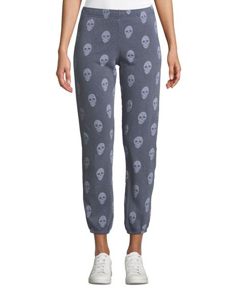 Monrow Skull-Print Elastic-Waist Sweatpants