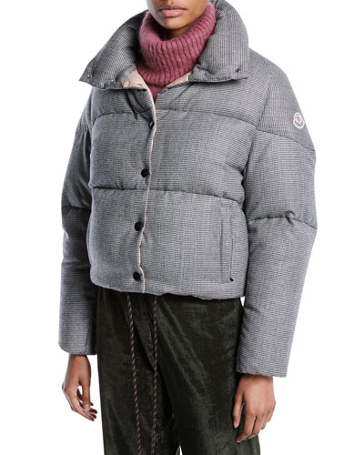 Cercis Cropped Wool Check Puffer Jacket