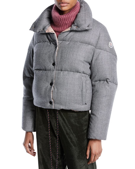 Moncler Cercis Cropped Wool Check Puffer Jacket
