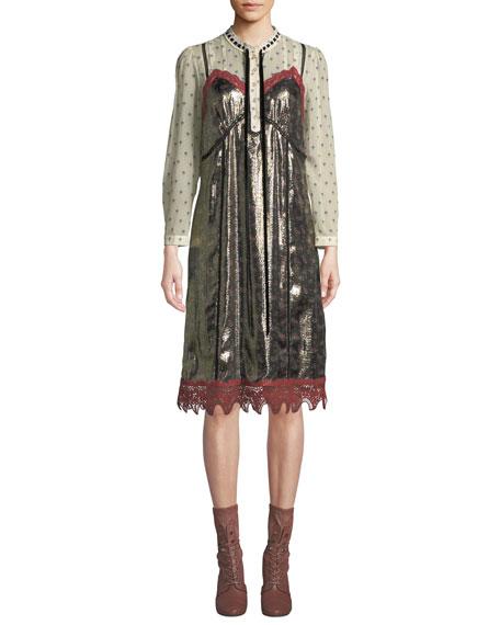 Daisy-Print Layered Metallic Slip Dress