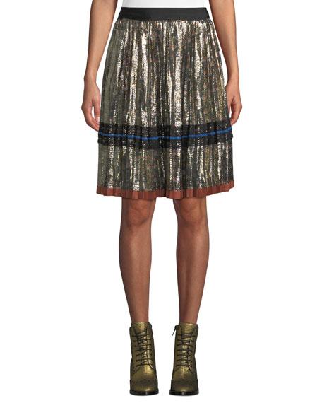 Coach Daisy-Print Pleated Metallic Midi Skirt