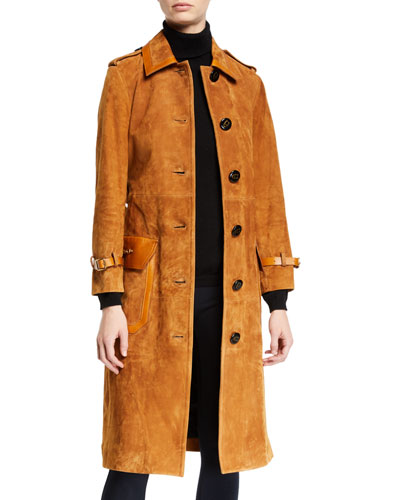 Western Suede Belted Trench Coat