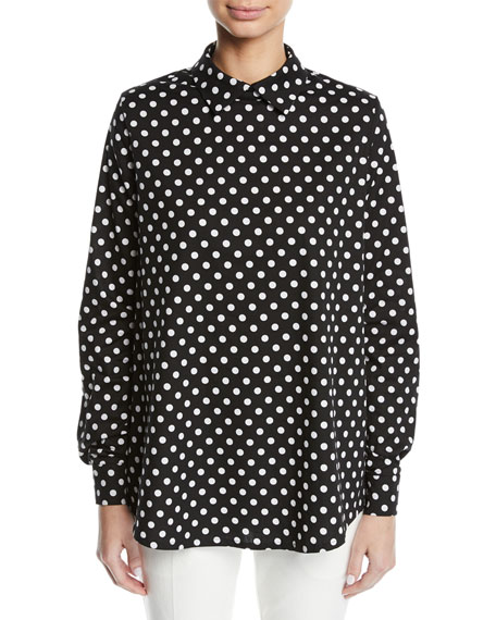 Paskal POLKA-DOT COLLARED LONG-SLEEVE COTTON SHIRT