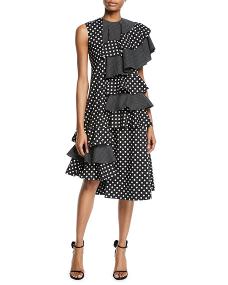 Paskal ONE-SLEEVE POLKA-DOT ASYMMETRIC RUFFLE MIDI DRESS