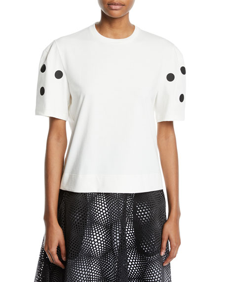 Paskal DOT APPLIQUE CROPPED CREWNECK TEE