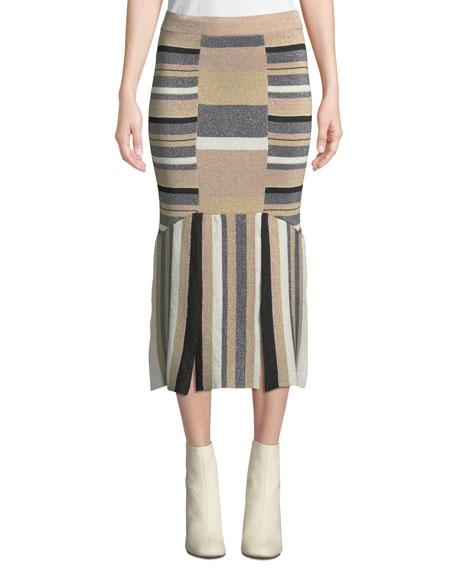 Rosetti Striped Metallic Midi Skirt