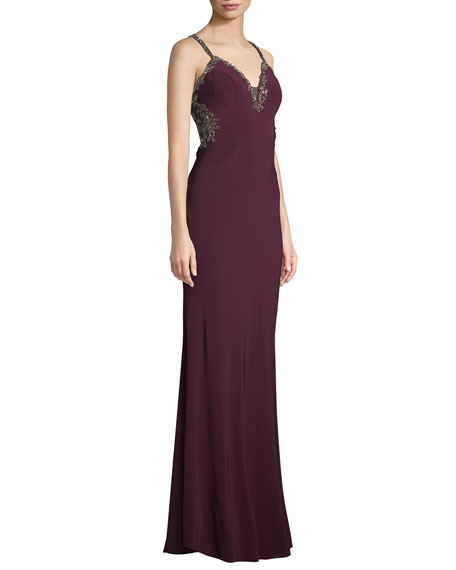 Jersey Beaded Gown w/ Side Cutouts