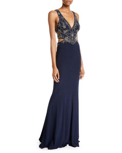 Jersey Beaded Gown w/ Side Cutouts
