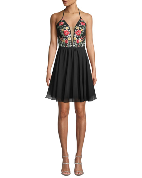 Faviana Floral Embroidered Halter Mini Dress