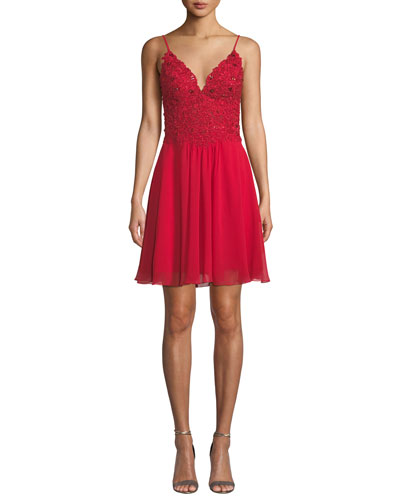 V-Neck Chiffon Mini Dress w/ Lace-Up Back