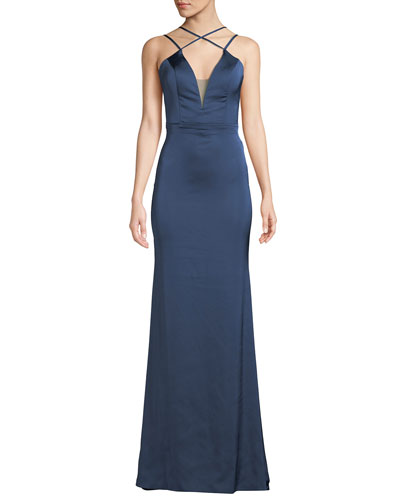 Strappy Matte Satin V-Neck Gown