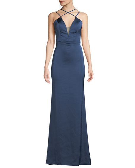 Faviana Strappy Matte Satin V-Neck Gown