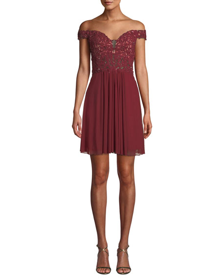 FAVIANA Mesh Fit-And-Flare Mini Dress in Dark Red