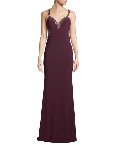 Embellished Open-Back Jersey Gown