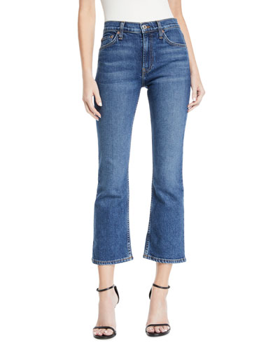 Mid-Rise Cropped Kick Flare Stretch-Denim Jeans