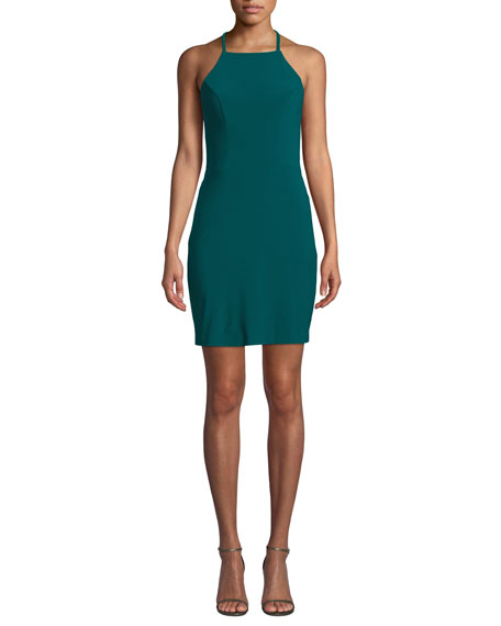 Faviana Strappy Jersey Dress w/ Lace-Up Back