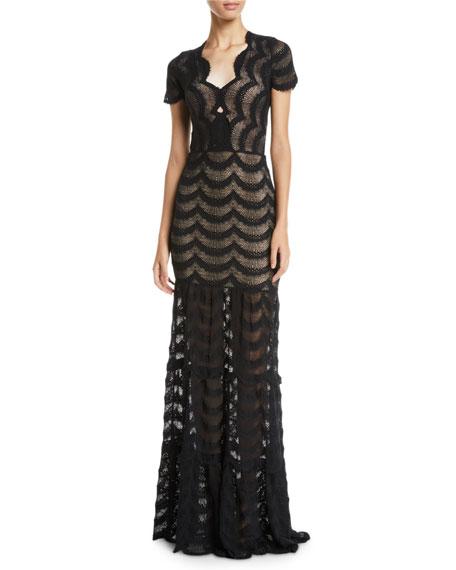 NIGHTCAP CLOTHING Fiesta Fan Lace Cap-Sleeve Gown in Black
