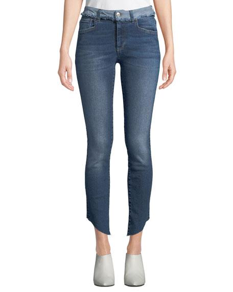 ACYNETIC Loren Dilone Skinny Cropped Asymmetric Jeans in Medium Blue