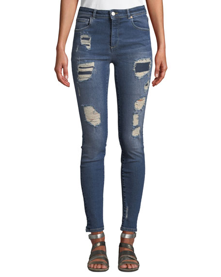 Quincy Mica Distressed Skinny Ankle Jeans in Medium Blue