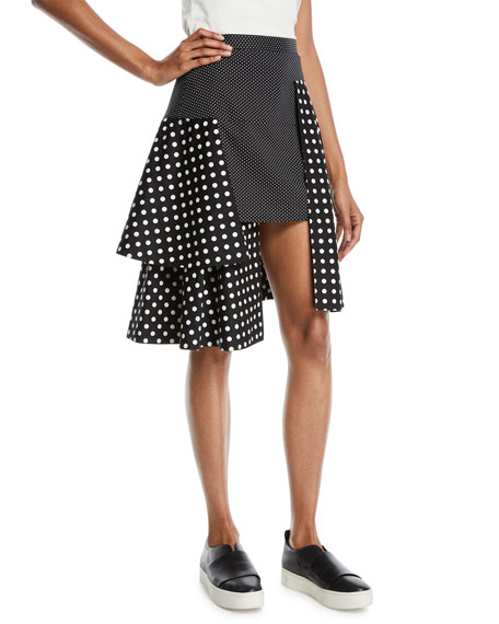 Paskal TIERED POLKA-DOT MULTILAYERED SKIRT