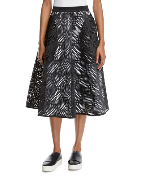 Paskal LASER-CUT HIGH-WAIST MIDI CIRCLE SKIRT