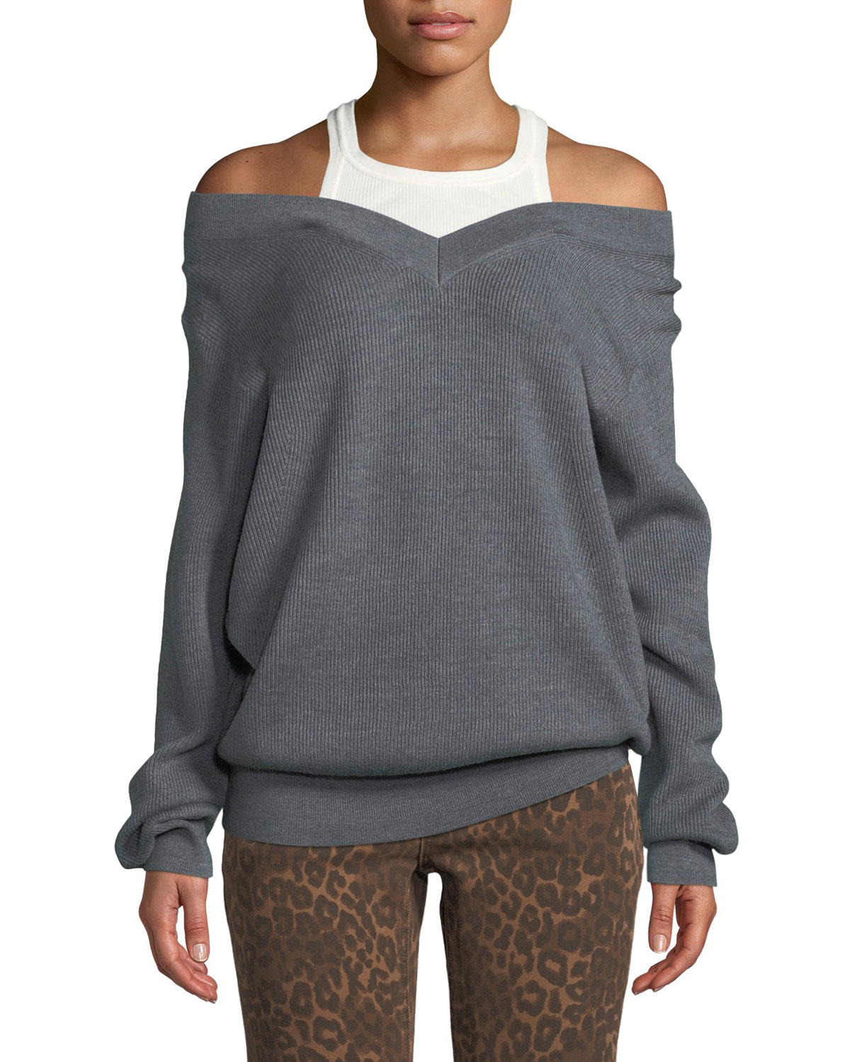 332a251c9 alexanderwang.t Ribbed Off-Shoulder Wool Sweater with Tank