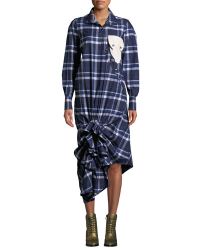Plaid Ruffle Snap-Front Shirtdress with Pocket Detail