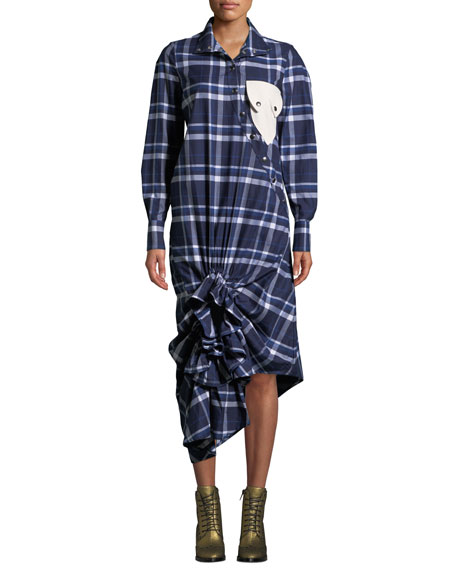 VICTORIA / TOMAS Plaid Ruffle Snap-Front Shirtdress With Pocket Detail in Blue Pattern