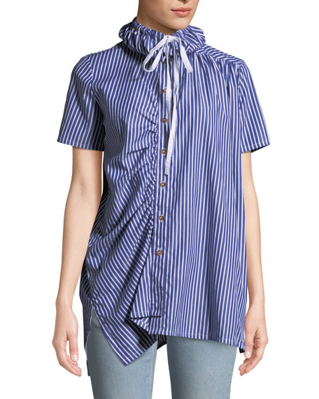 VICTORIA / TOMAS Striped Shirred Button-Down Shirt With Drawstring Collar in Blue Pattern