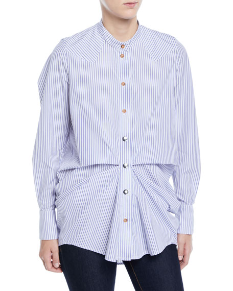 VICTORIA / TOMAS Gathered Striped High-Low Button-Down Shirt in Blue Pattern