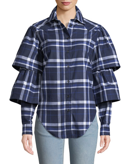 VICTORIA / TOMAS Ruffle-Sleeve Plaid Button-Down Top in Blue Pattern