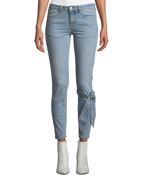 VICTORIA / TOMAS Mid-Rise Skinny Ankle Jeans With Tie Detail in Blue