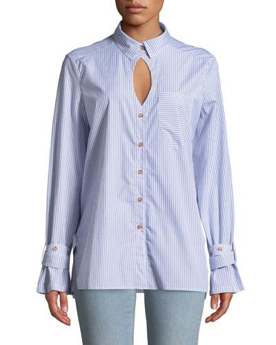 Striped Cutout Button-Down Shirt