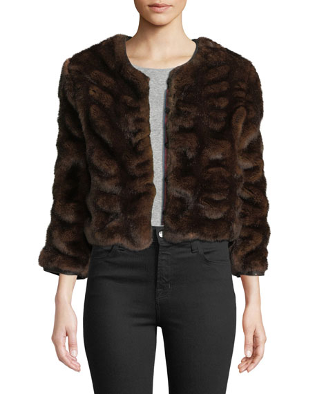 LE SUPERBE Warm Winters Chubby Faux-Fur Coat in Brown