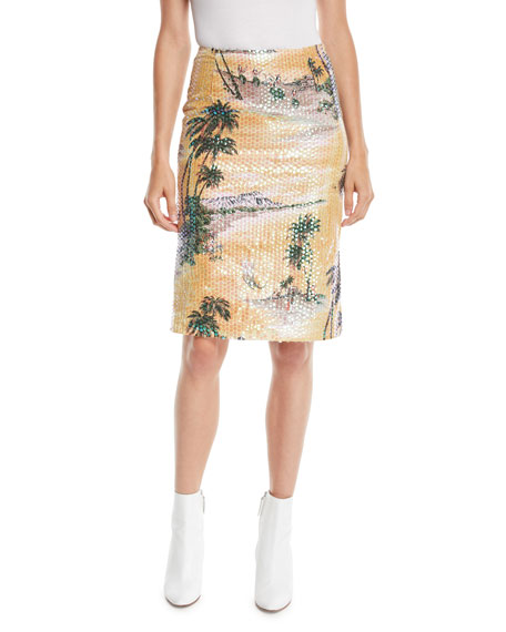 LE SUPERBE Hawaiian Shine Sequin Pencil Skirt in Sunset Gold