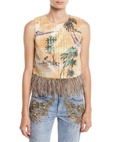 Hawaiian Shine Sequin Top with Feathers