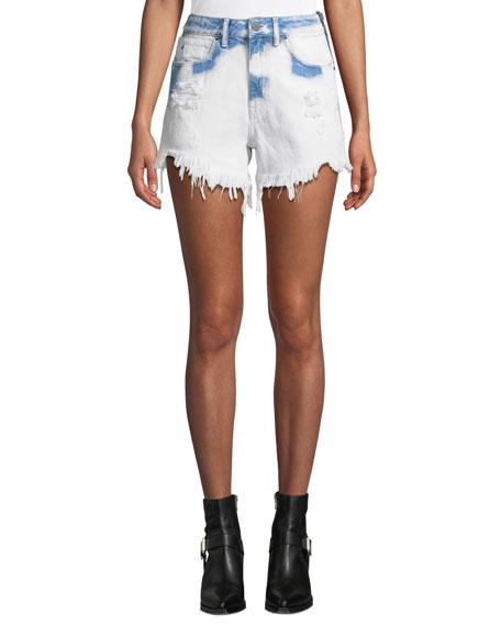Bite Side-Zip Denim Cutoff Shorts in White