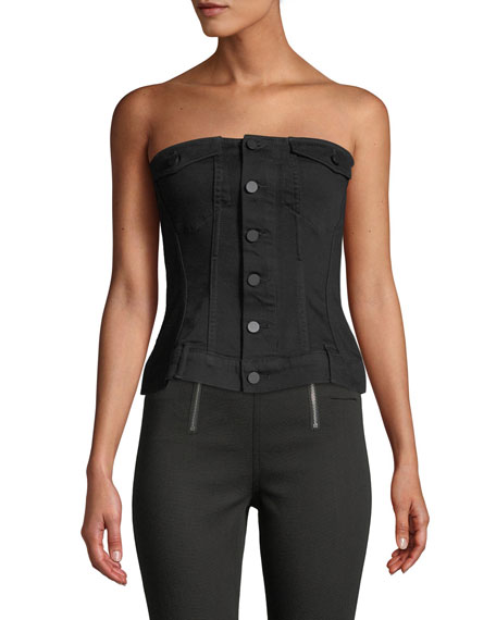 T by Alexander Wang Strapless Zip-Front Denim Corset