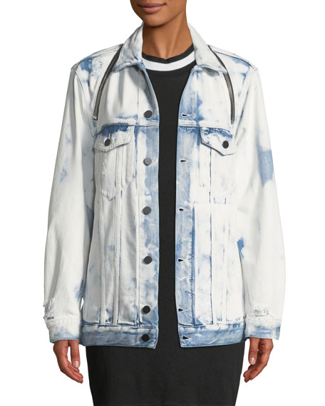 alexanderwang.t Daze Zip Distressed Denim Trucker Jacket