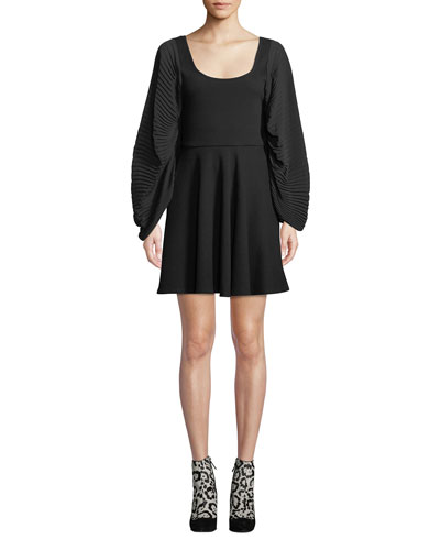 Plisse Full-Sleeve Fit-and-Flare Short Dress