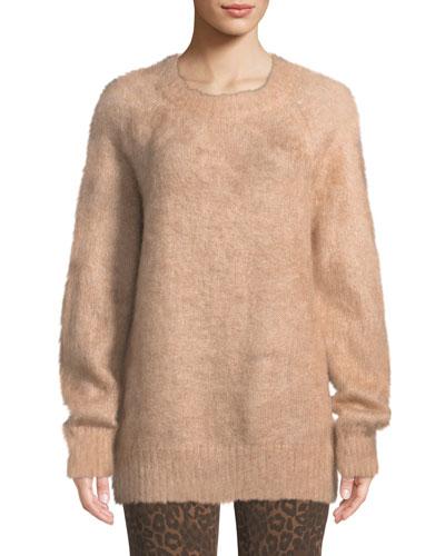 Mohair Crewneck Pullover Sweater