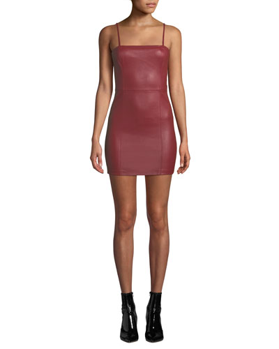 Fitted Leather Cami Mini Dress