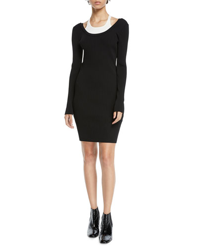 Fitted Long-Sleeve Layered Viscose Short Dress