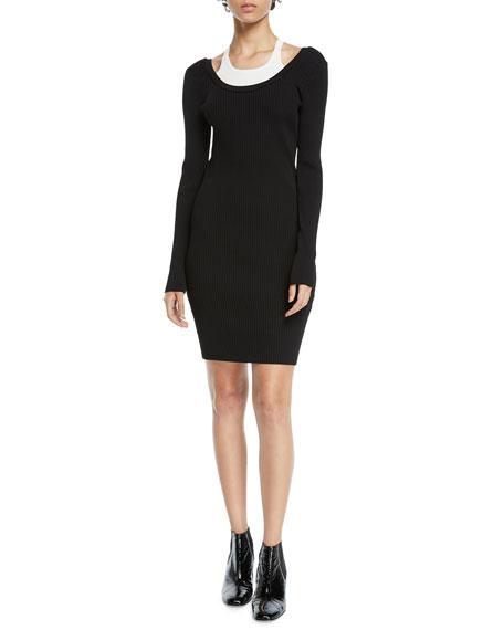 alexanderwang.t Fitted Long-Sleeve Layered Viscose Short Dress