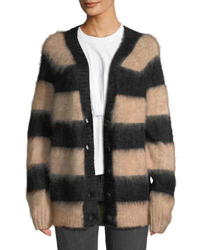 Striped Oversized Mohair Cardigan