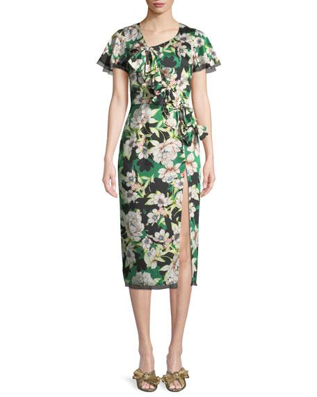 LE SUPERBE Gardenias Nights Printed Bow Dress in Gardenias Nights Dress